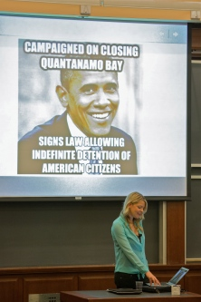Lyon speaking at Harvard Law School about NDAA.